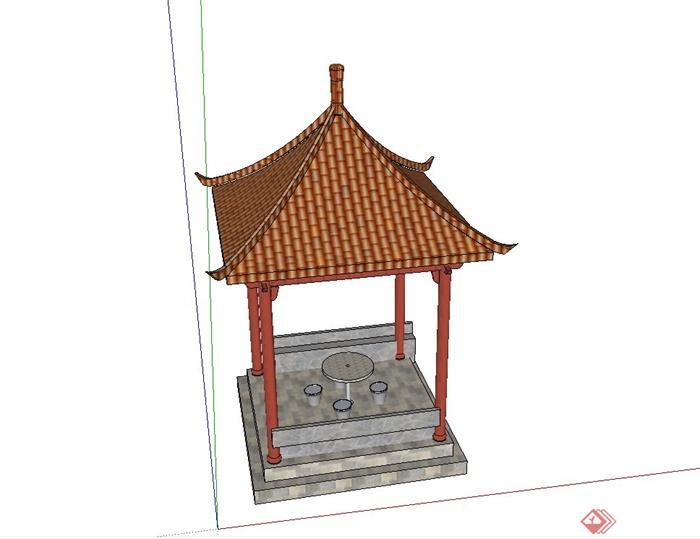 古典中式四角亭子设计su模型(含石桌凳)图片