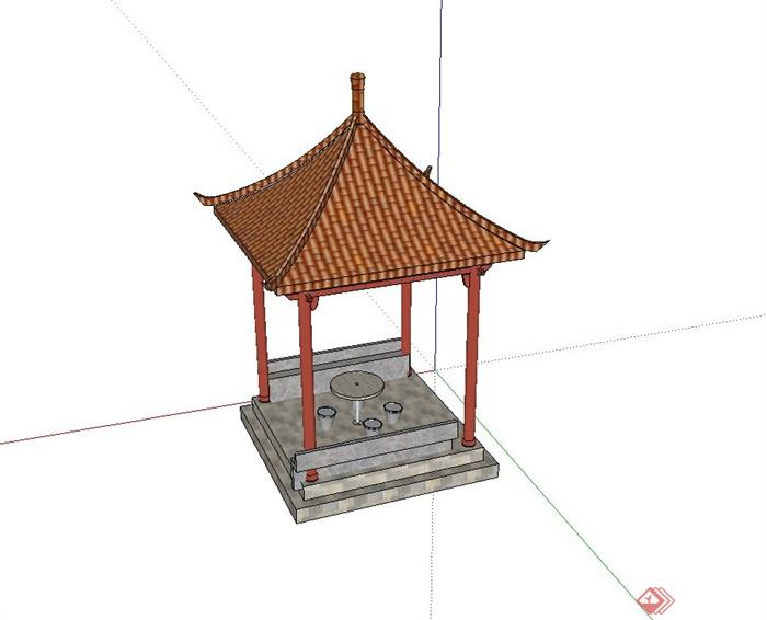 古典中式四角亭子设计su模型(含石桌凳)(4)
