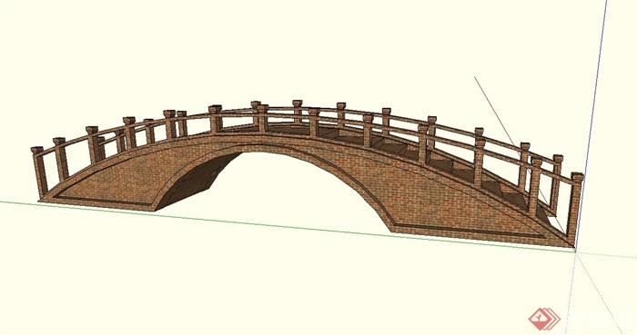 现代中式砖砌拱桥设计su模型