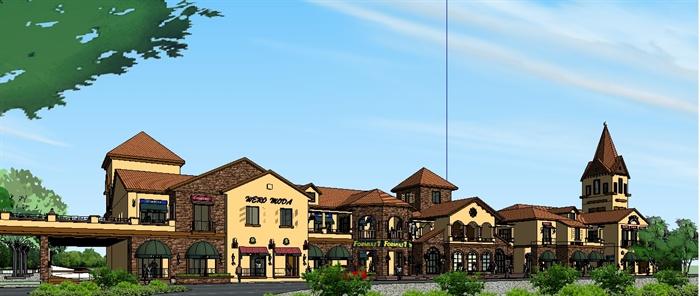 欧式商业服务小镇中心su精致设计模型(3)图片