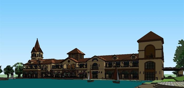 欧式商业服务小镇中心su精致设计模型(5)图片