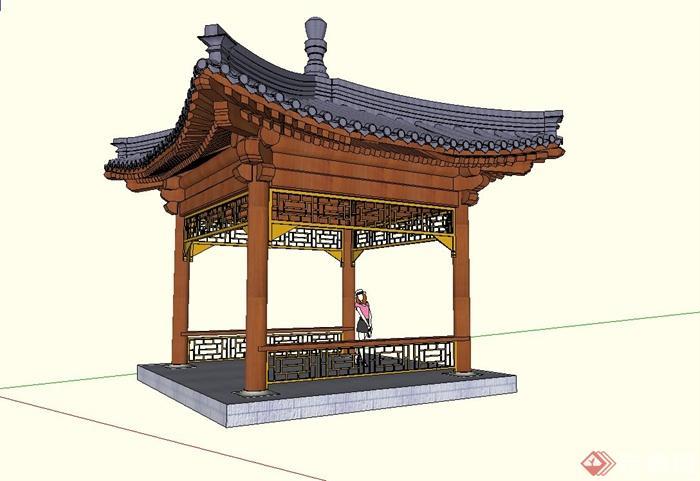 某公园古典中式四角亭设计su模型图片