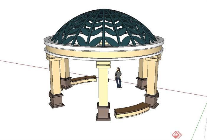 欧式圆顶亭子设计su模型(1)