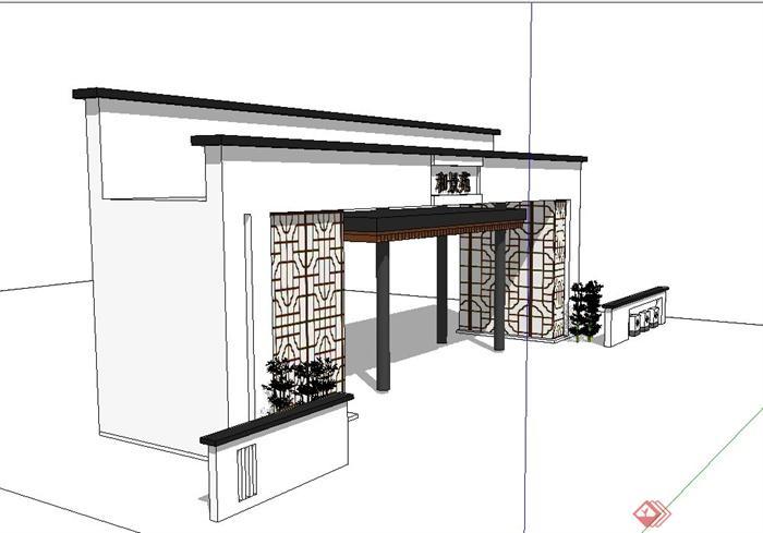 古典中式某公园入口门廊设计su模型(2)