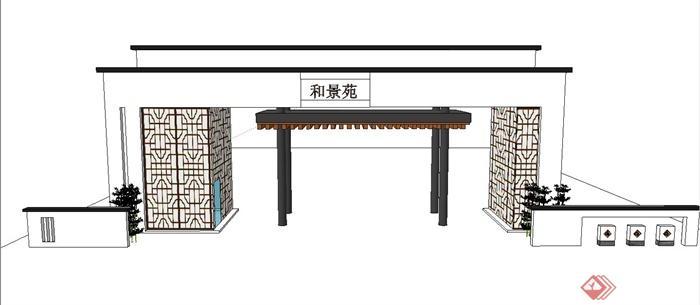 古典中式某公园入口门廊设计su模型(1)