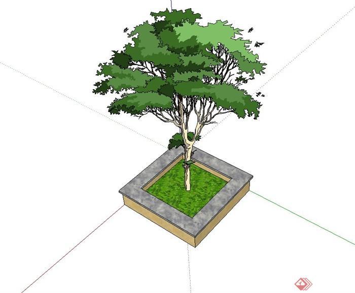 某公园正方形树池设计su模型