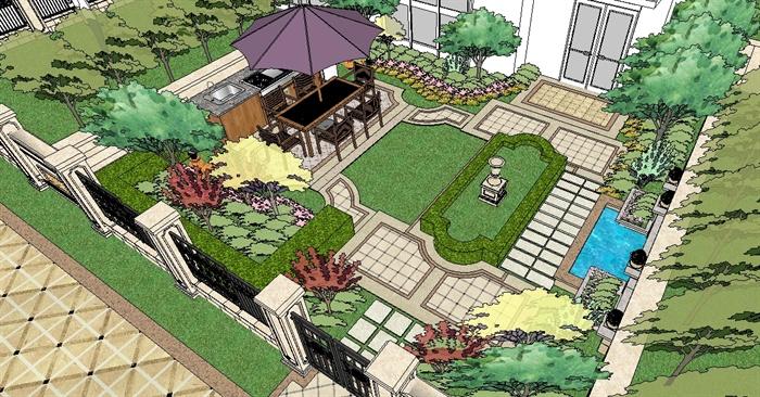 欧式别墅庭院景观su精致设计模型[原创]