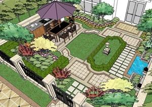 欧式别墅庭院景观SU(草图大师)精致设计模型-欧陆3D模型园林景