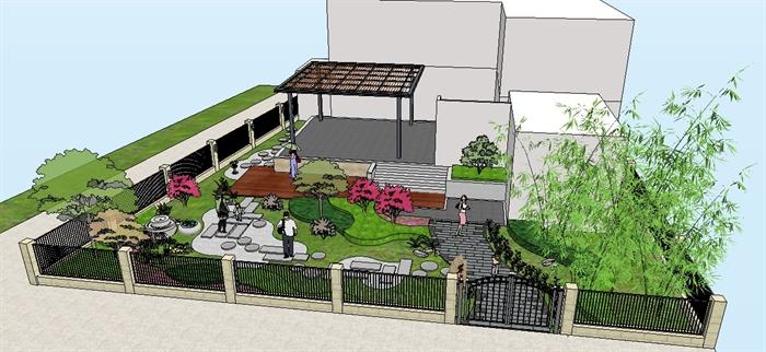 新中式屋顶花园su精致设计模型(3)