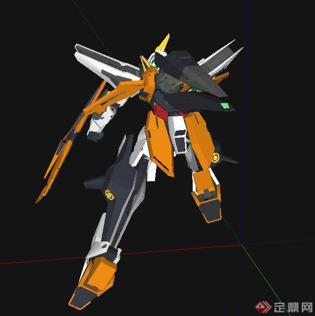 室外廣場高達跳躍機器人素材設計su模型(2)