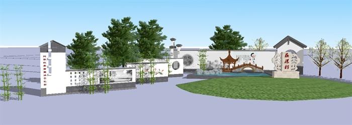 新農村村口景觀方案Su精致設計模型,模型為鄉村入口廣場景觀設計,模型有材質貼圖,造型美觀,有需要請自行下載使用。