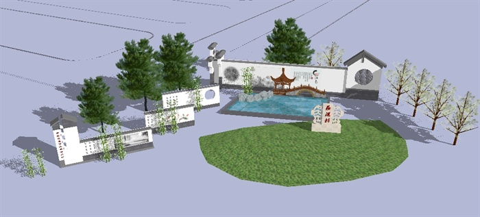 新農村村口廣場景觀方案su精致設計模型[原創]