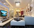 客厅,客厅装饰,沙发,电视背景墙,挂画,灯具