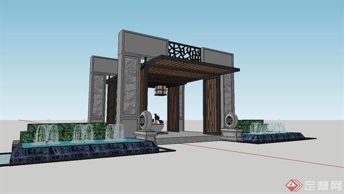 现代中式小区入口门廊设计su模型[原创]