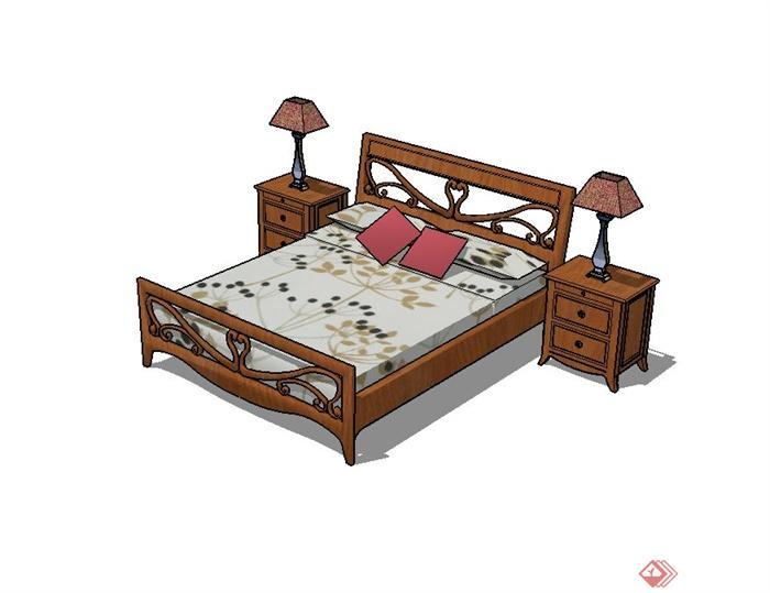 现代中式双人木床设计su模型[原创]