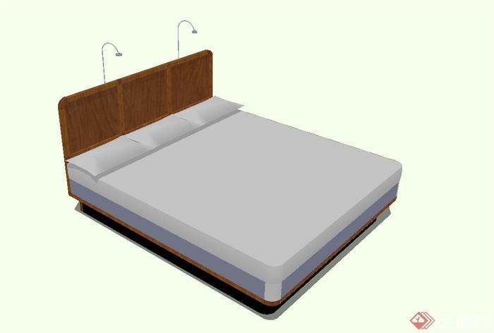 现代简约风格木床设计su模型[原创]