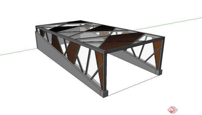 地下车库出车行入口玻璃廊架设计su模型(1)