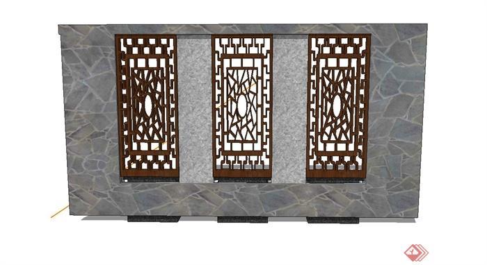 某现代中式木窗,石材组合景墙设计su模型