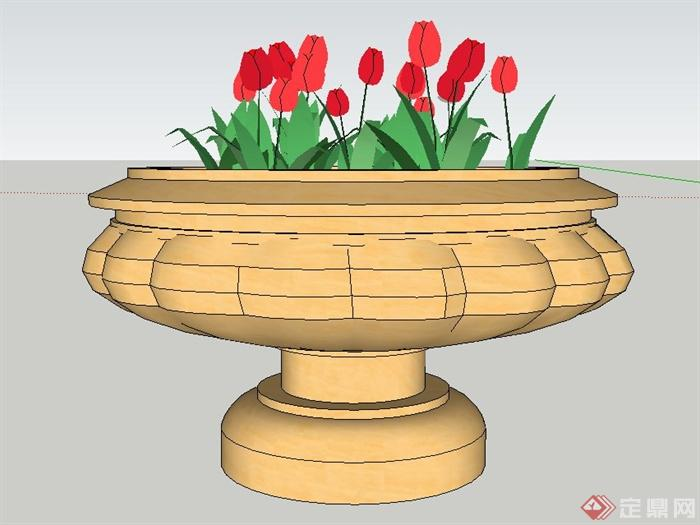 园林景观节点欧式圆形花钵设计su模型