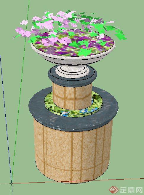 圆筒形景观节点花钵设计su模型
