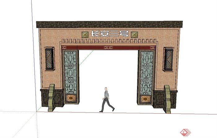 现代中式风格小区入口大门设计su模型[原创]