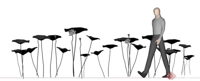 荷叶荷花雕塑小品su模型(4)