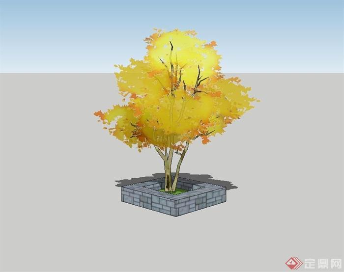正方形砖砌树池设计su模型(2)