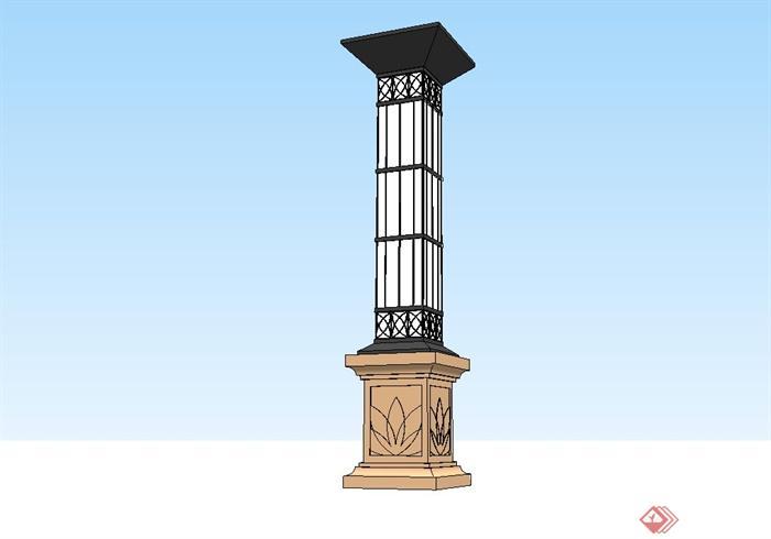 欧式庭院景观灯柱设计su模型(3)