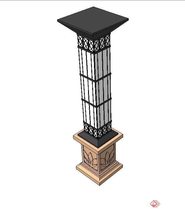 欧式庭院景观灯柱设计su模型(1)