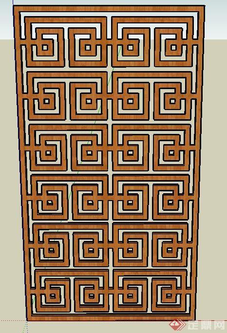 多个中式元素窗花设计su模型(2)