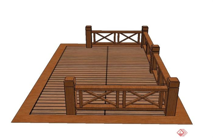 现代木栈道设计su模型