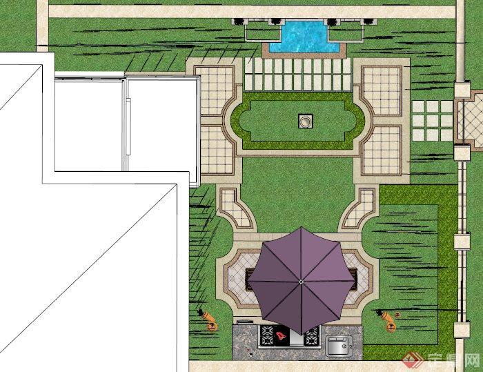 欧式别墅庭院景观su精致设计 模型(4)