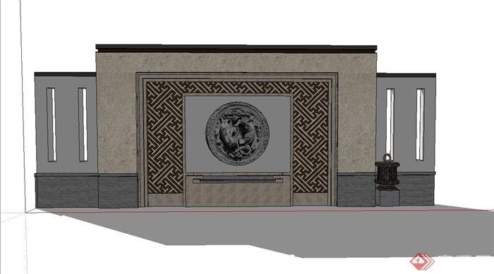 现代中式照壁景墙设计su模型(1)
