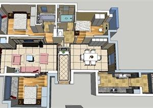 现代某三室两厅住宅家装详图设计SU(草图大师)模型