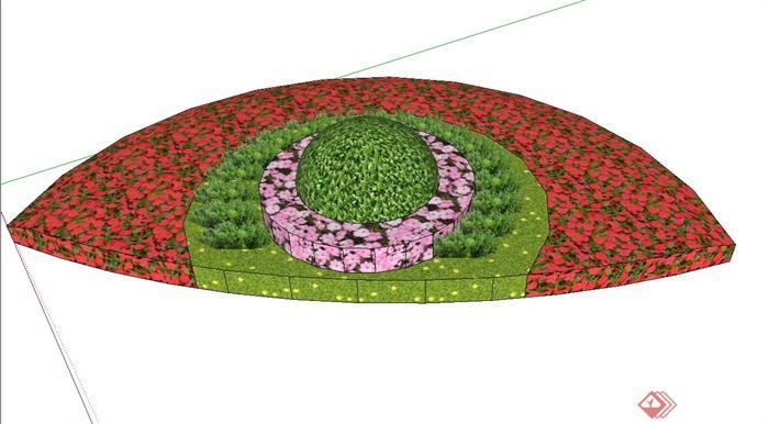 半圆形花坛设计su模型(1)