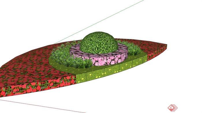 半圆形花坛设计su模型