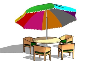 室外遮阳伞桌椅组合SU(草图大师)模型