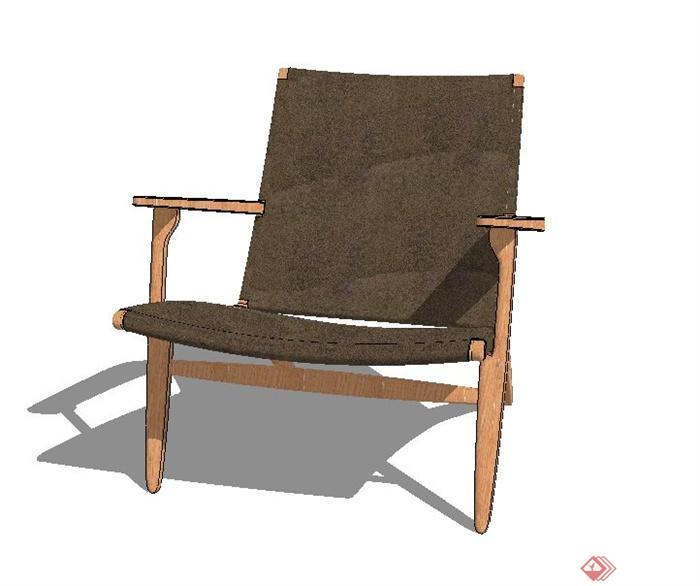 室内木质简易扶手座椅设计su模型[原创]