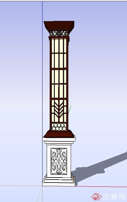 园林景观节点中式浮雕灯柱设计su模型(1)
