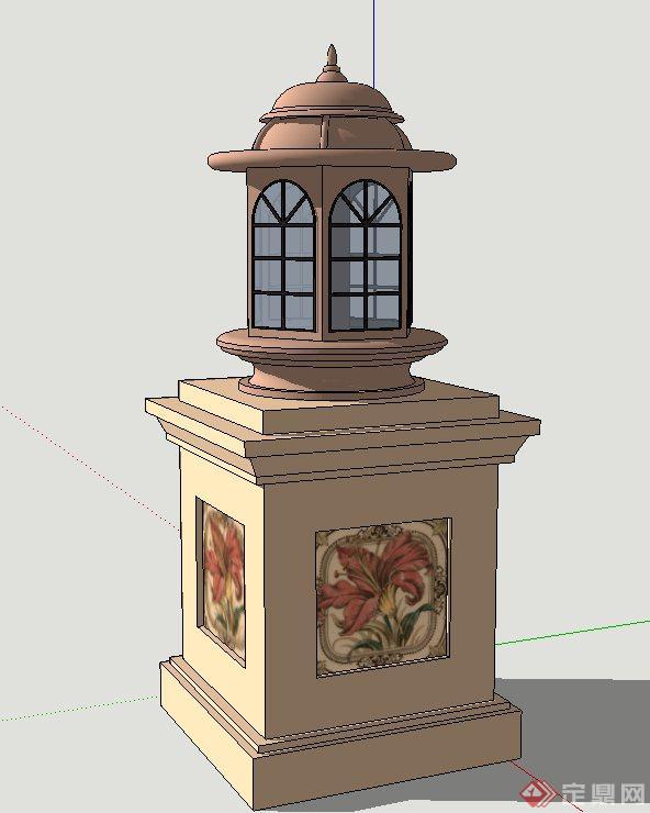欧式风格庭院灯设计su模型(2)