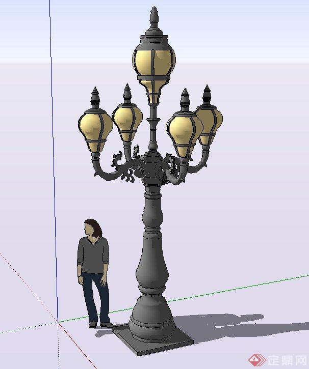 欧式风格庭院景观灯设计su模型[原创]