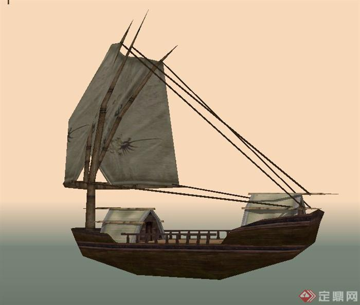 木质交通工具船设计su模型(1)