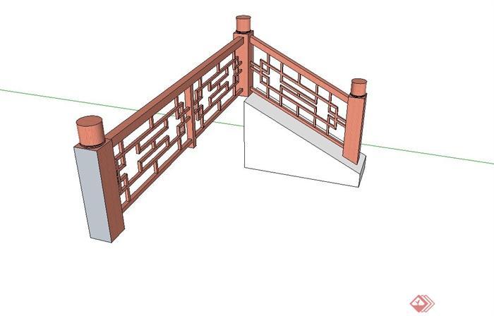古典中式防腐木栏杆设计su模型