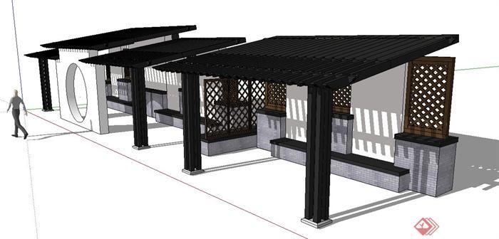 园林景观节点中式木质镂空廊架设计su模型(1)