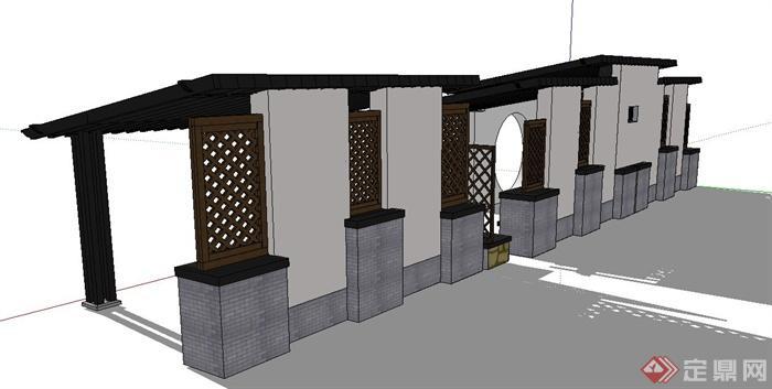 园林景观节点中式木质镂空廊架设计su模型(2)