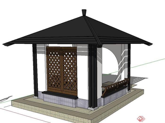 古典中式四角景观凉亭设计su模型图片