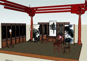 古典中式风格客厅SU(草图大师)模型