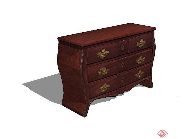 古典中式红木雕花床头柜su模型[原创]