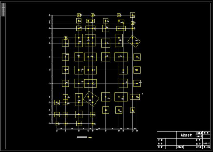 某毕业设计四层框架结构高校图书馆结构设计cad图