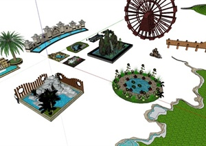 多个园林景观水景节点资料设计SU(草图大师)模型